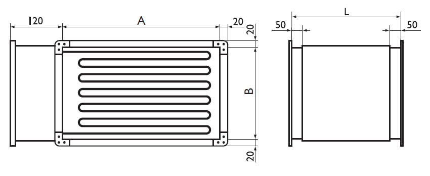Габаритные размеры электрических нагревателей Арктос серии PBER