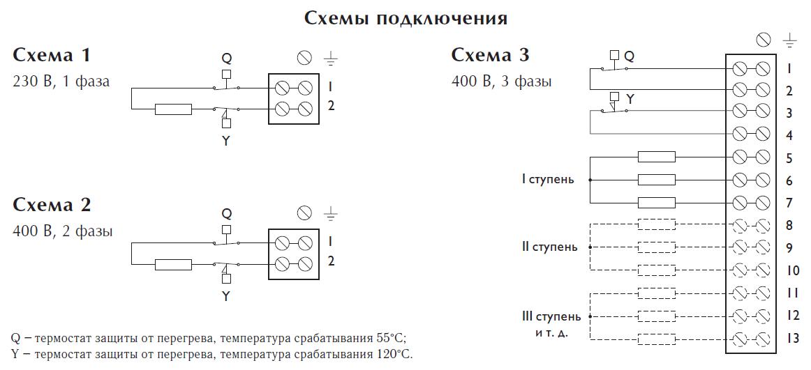 Схемы подключения электрических нагревателей Арктос серии PBER