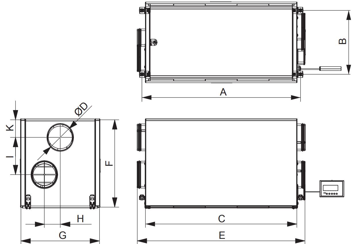 Габаритные размеры приточно-вытяжной установки Вентс