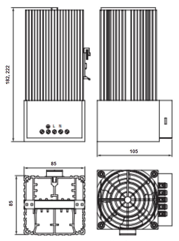 Профиль PTC-400 F нагревателя для шкафа и щита автоматики