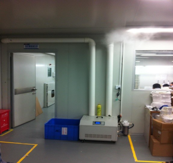 Установка промышленного ультразвукового увлажнителя на складе