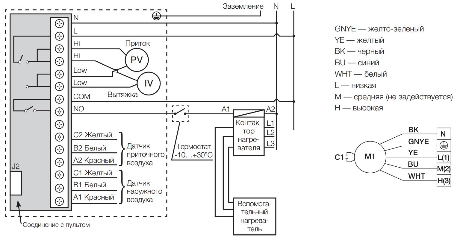 Схема подключения дополнительного нагревателя и вентилятора к приточно-вытяжной установке Electrolux EPVS