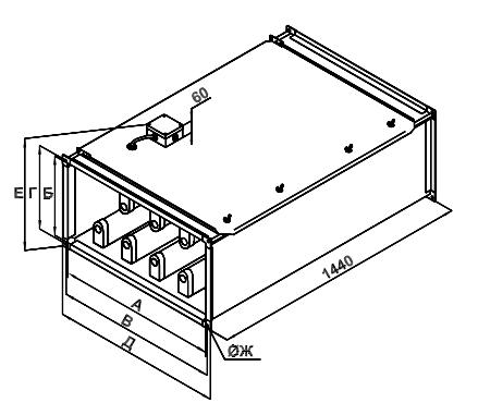 Размеры секции бактерицидной обработки воздуха Korf SBOW
