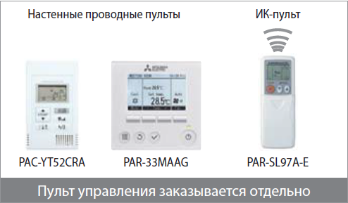 Варианты пультов для канальных кондиционеров Mitsubishi Electric
