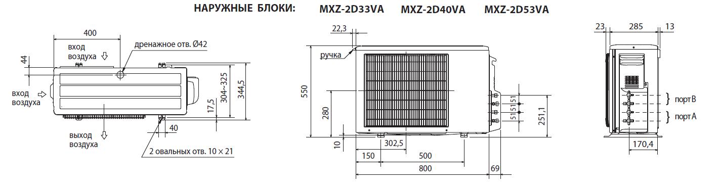 Габариты наружного блока мульти сплит-системы Mitsubish Electric MXZ-2D33VA