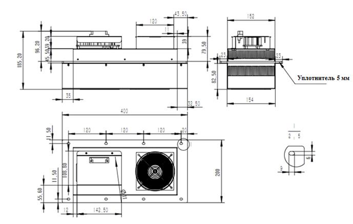 Установочный размер термоэлектрического кондиционера Пельтье TEC-300