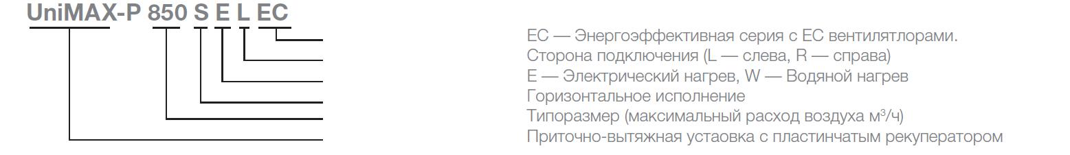 Расшифровка обозначений на приточно-вытяжные установки Shuft Unimax-P SE EC