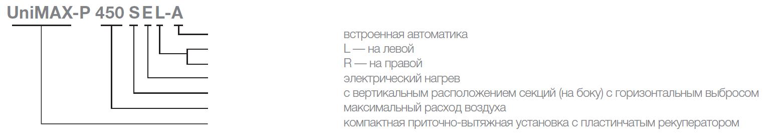 Расшифровка обозначений на приточно-вытяжные установки Shuft Unimax-P SE