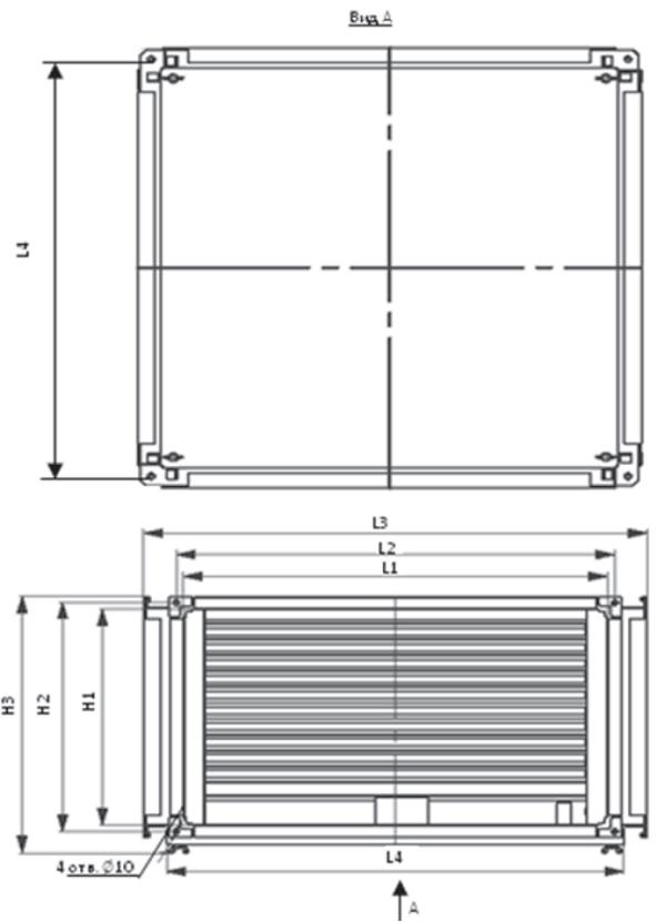 Размеры на пластинчатый рекуператор Shuft