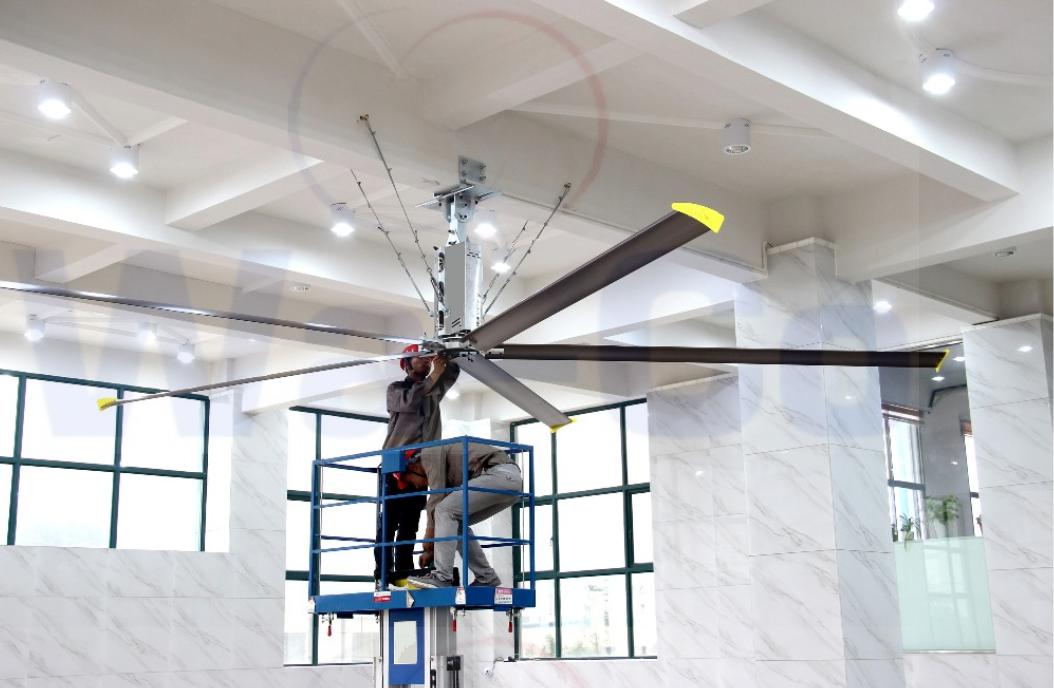 установка промышленных потолочных вентиляторов