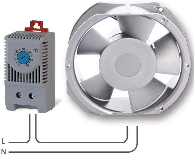 Подключение к компактному вентилятору O.Erre RQ 160 термостата