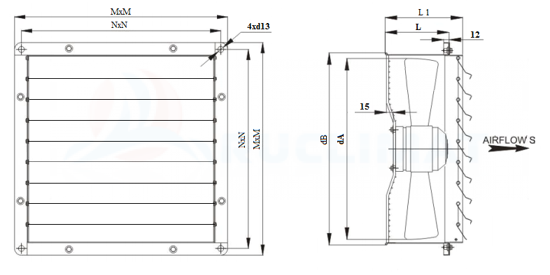 Габариты осевого промышленного вентилятора Wa-Co серии AWFG