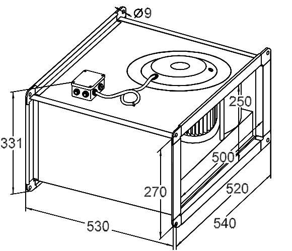 Размер вентилятора для прямоугольных каналов Korf WRW 50-25 22-4E