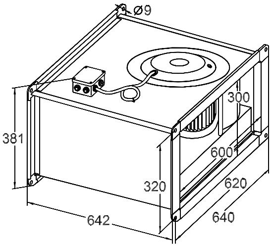 Размер вентилятора для прямоугольных каналов Korf WRW 60-30/28-4E