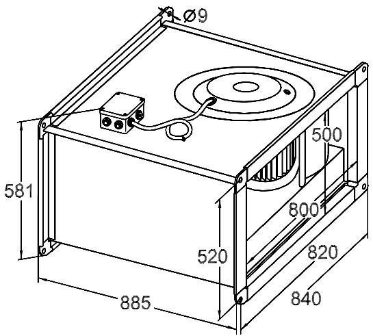 Размер вентилятора для прямоугольных каналов Korf WRW 80-50/40-6D