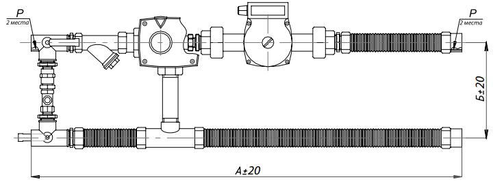Размеры смесительного узла Korf SURP 40-2,5