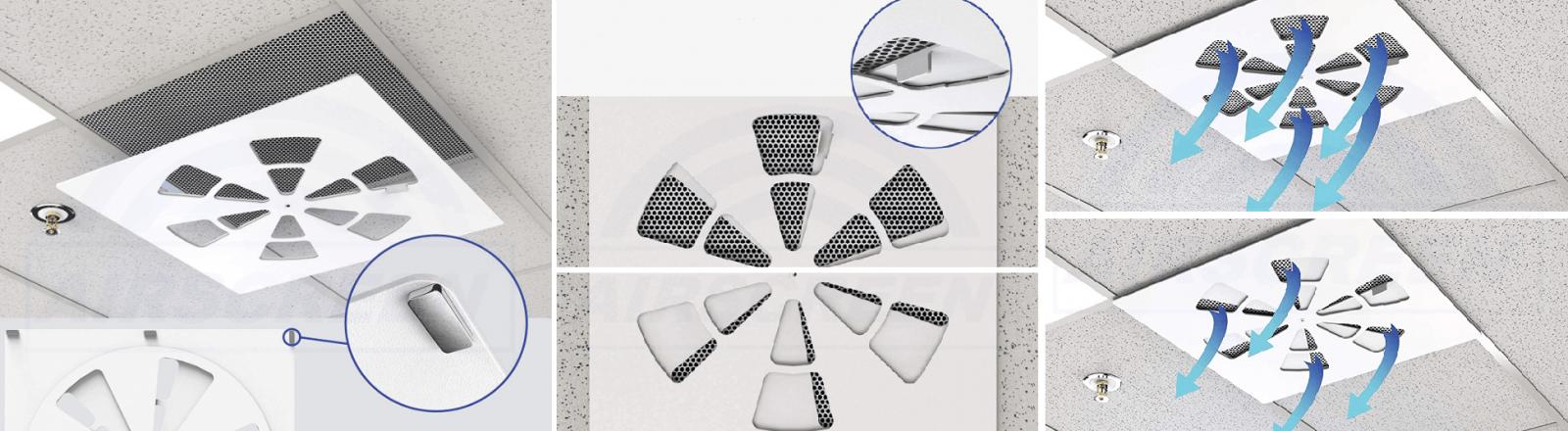 Внешние регуляторы расхода воздуха для потолочных решеток