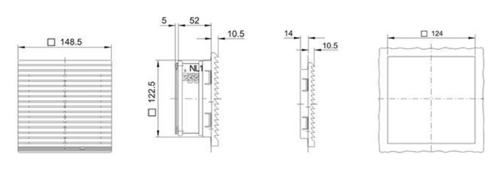 Монтажные размеры на решетку Wa-Co 322-300