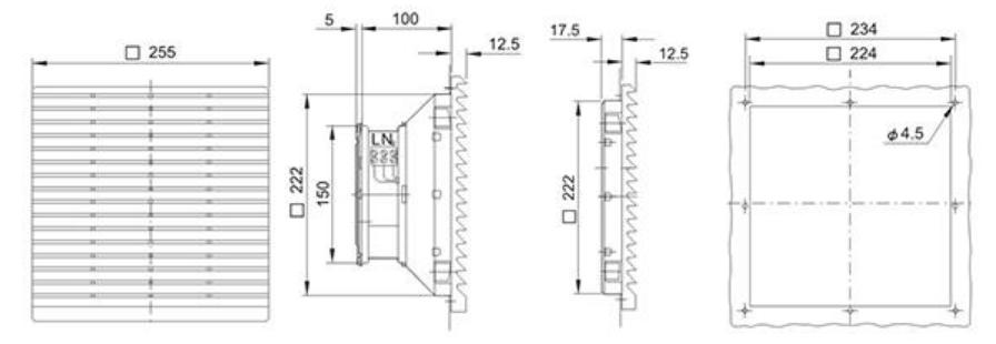 Монтажные размеры на решетку Wa-Co 325-300