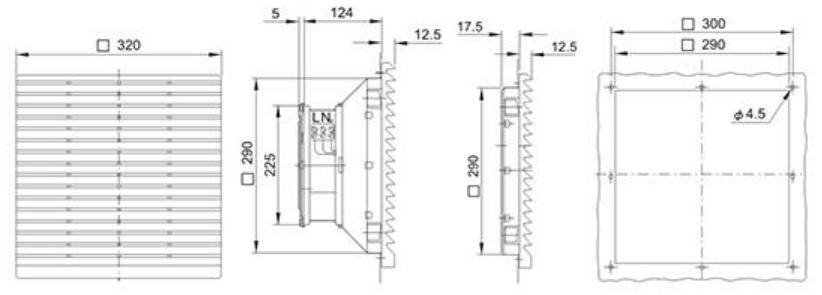 Монтажные размеры на решетку Wa-Co 326-300